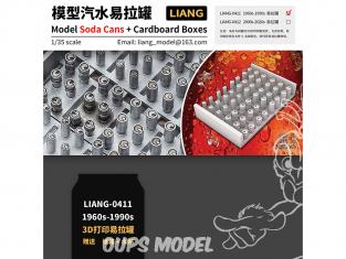 Liang Model 0411 Canettes Soda 1960 - 1990 avec boites en carton 1/35