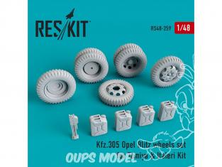 ResKit kit d'amelioration militaire RS48-0259 Kfz.305 Set de roues Opel Blitz pour Tamiya et Italeri 1/48