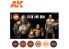 Ak interactive peinture acrylique 3G Set AK11621 Couleurs peau et chair 6 x 17ml