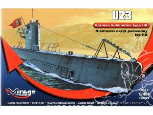 Mirage maquette Sous-marins 400204 U23 type II B Allemand 1/400