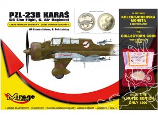 Mirage maquette avion 480002 PZL-23B Karaś '64. Liniowa Squadron, 6th Air Regiment avec piéce de collection 1/48