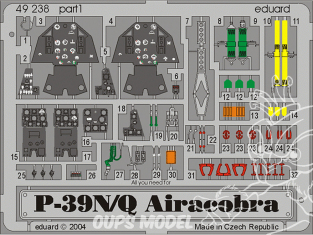 EDUARD photodecoupe avion 49238 Amélioration P-39Q/N Eduard 1/48
