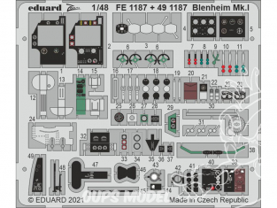 EDUARD photodecoupe avion FE1187 Zoom amélioration Blenheim Mk.I Airfix 1/48
