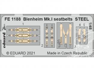 EDUARD photodecoupe avion FE1188 Harnais métal Blenheim Mk.I Airfix 1/48