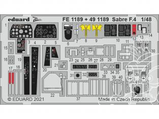 EDUARD photodecoupe avion FE1189 Zoom amélioration Sabre F.4 Airfix 1/48