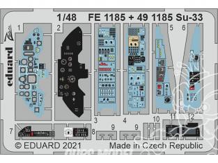 EDUARD photodecoupe avion FE1185 Zoom amélioration Sukhoi Su-33 Minibase 1/48