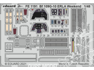 EDUARD photodecoupe avion FE1191 Zoom amélioration Messerschmitt Bf 109G-10 ERLA Weekend Eduard 1/48