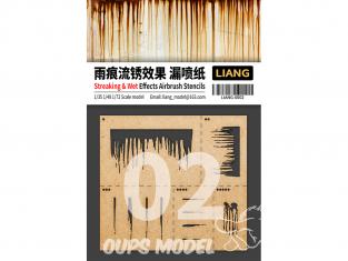 Liang Model 0002 Pochoir aérographe Strie et traces humidité 1/35 - 1/48 - 1/72