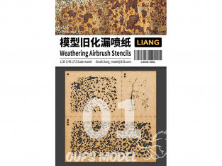 Liang Model 0001 Pochoir aérographe Weathering - Vieillissement 1/35 - 1/48 - 1/72