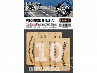 Liang Model 0010 Pochoir aérographe traces de pneus A 1/32 - 1/35 - 1/48