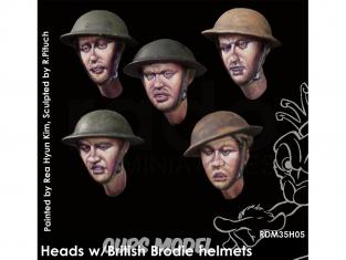 Rado miniatures figurines RDM35H05 Têtes avec casques Brodie Armée Britannique 1/35