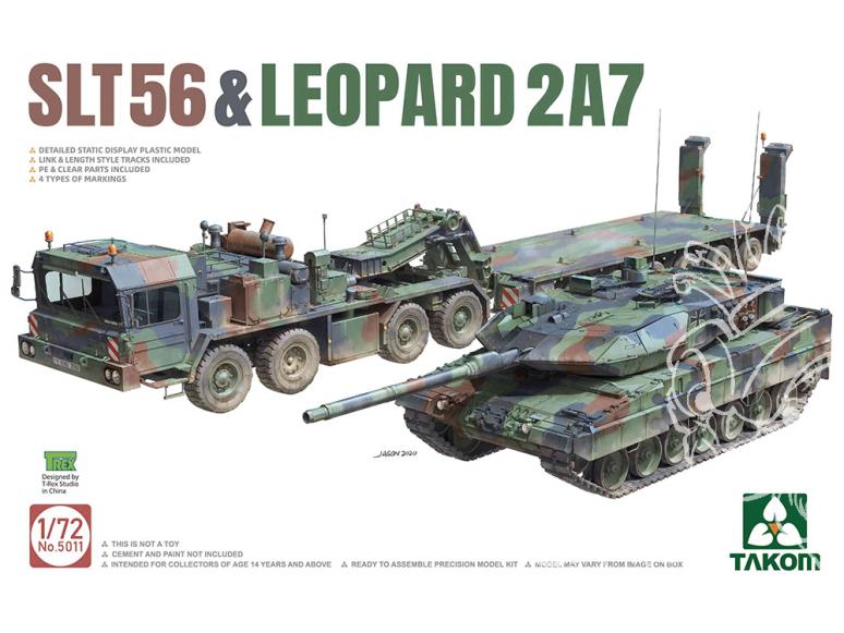 Takom maquette militaire 5011 SLT 56 & Leopard 2A7 1/72