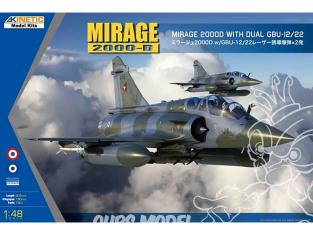 Kinetic maquette avion K48120 Dassault Mirage 2000 (B/D/N/BG) avec double GBU-12/22 1/48