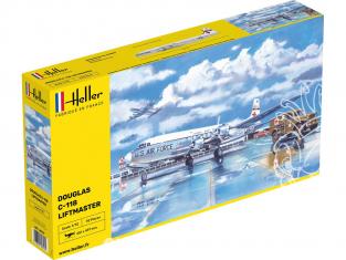 Heller maquette avion 56317 STARTER KIT C-118 LIFTMASTER inclus peintures principale colle et pinceau 1/72