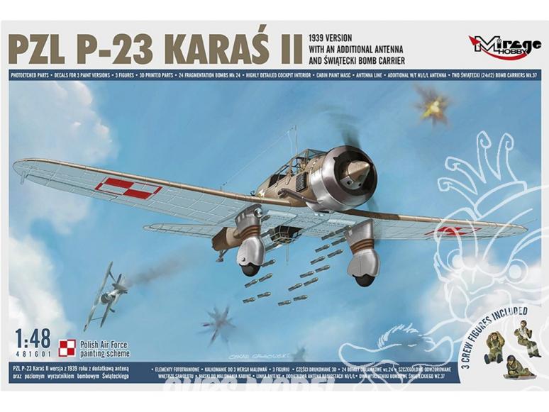 Mirage maquette avion 481601 PZL P-23 Karaś II. Version 1939 1/48
