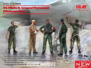 Icm maquette figurines 48087 Pilotes américains et personnel au sol (guerre du Vietnam) 1/48