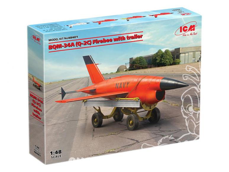 Icm maquette avion 48401 BQM-34A (Q-2C) Firebee avec remorque 1/48