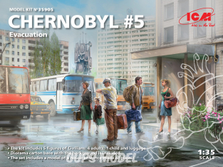 Icm maquette figurines 35905 Tchernobyl n° 5 Evacuation (4 adultes, 1 enfant et bagages) 1/35