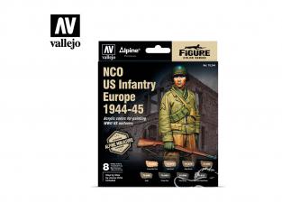 Vallejo Set Alpine Miniature 70244 Sous-officier US Infanterie Europe 1944-45 8x8ml