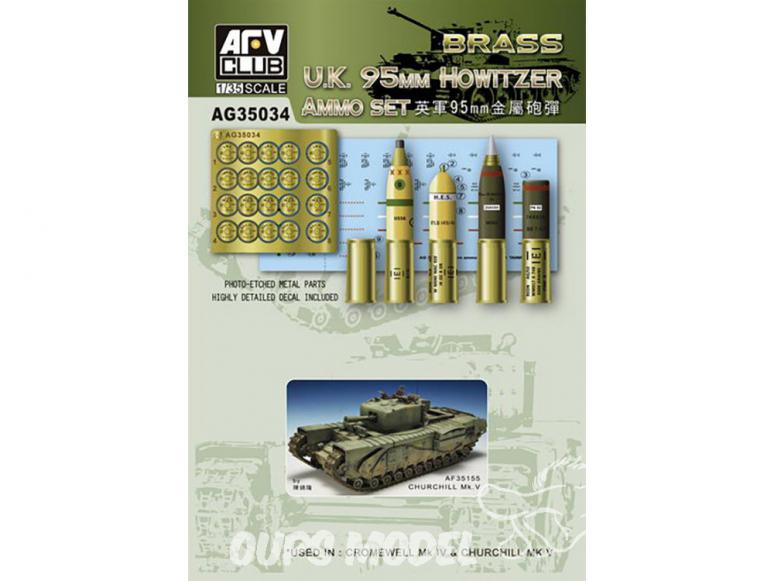 Afv Club maquette militaire ag35034 ENSEMBLE DE MUNITIONS POUR OBUSIER DE 95 mm U.K. en Métal 1/35