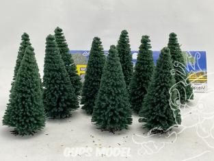 Fr Décor arbres 9609/V Dix sapins ecouvillons vert 90mm