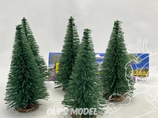 Fr Décor arbres 9614/V Cinq sapins ecouvillons vert 140mm