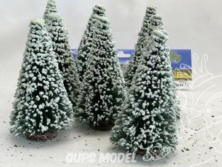 Fr Décor arbres 9612/E Huit sapins ecouvillons enneigés 120mm