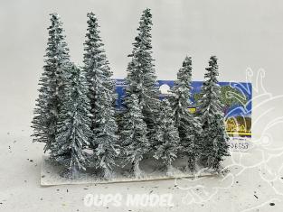 Fr Décor arbres 06553 Douze sapins coton enneigés assortis