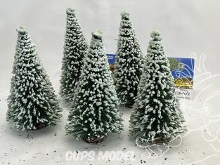 Fr Décor arbres 9614/E Cinq sapins ecouvillons enneigés 140mm
