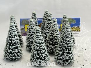 Fr Décor arbres 9609/E Dix sapins ecouvillons enneigés 90mm