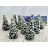 Fr Décor arbres 9607/E Dix sapins ecouvillons enneigés 70mm