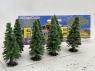 Fr Décor arbres 0259 Sept sapins floqués Vert moyen 70mm