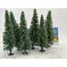 Fr Décor arbres 0459 Six sapins floqués Vert moyen 130mm