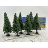 Fr Décor arbres 0359 Six sapins floqués Vert moyen 100mm