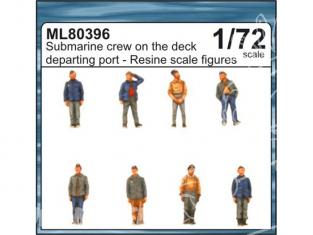 CMK figurine ml80396 EQUIPAGE sous marin allemand sur le pont au départ 1/72