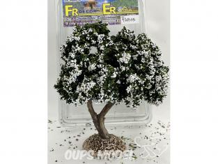 Fr Décor arbres 97691B Arbre fleuris double branche blanc tronc bois 140mm Made in France