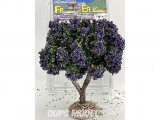 Fr Décor arbres 97691LA Arbre fleuris double branche lavande tronc bois 140mm Made in France
