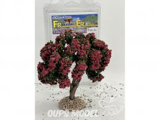 Fr Décor arbres 97691RO Arbre fleuris double branche rouge tronc bois 140mm Made in France