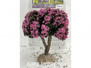 Fr Décor arbres 97691R Arbre fleuris double branche rose tronc bois 140mm Made in France
