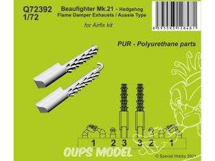 Cmk kit d'amelioration Q72392 Beaufighter Échappements avec amortisseur de flamme Hedgehog Type Aussie Kit Airfix 1/72