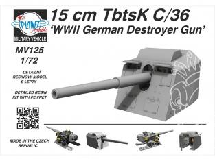 Planet model Maquettes militaire mv125 15cm TbtsK C/36 Canon destructeur allemand WWII kit résine complet 1/72