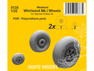 Cmk kit d'amélioration 5135 Roues Westland Whirlwind Mk.I kit Special Hobby 1/32