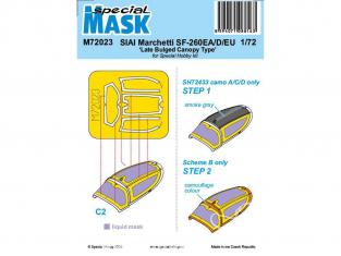 Special Hobby Masque avion M72023 Masque SIAI-Marchetti SF-260EA / D / EU Type auvent tardif à renflement 1/72