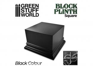 Green Stuff 500669 Socle Carré Ouvragé 8x8 cm Noir