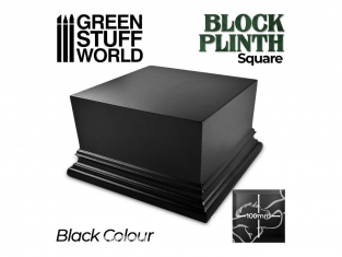 Green Stuff 500676 Socle Carré Ouvragé 10x10 cm Noir