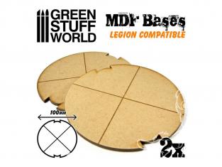 Green Stuff 502311 Deux Socles ROND 100 mm en MDF (Legion)