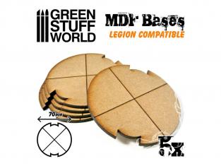 Green Stuff 502304 Cinq Socles ROND 70 mm en MDF (Legion)