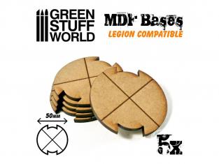 Green Stuff 502298 Cinq Socles ROND 50 mm en MDF (Legion)
