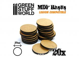 Green Stuff 502281 Vingt Socles ROND 27 mm en MDF (Legion)