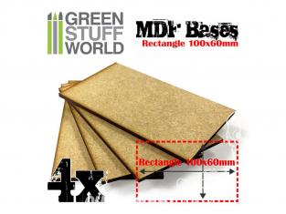 Green Stuff 501611 Quatre Socles RECTANGULAIRES 100x60mm en MDF